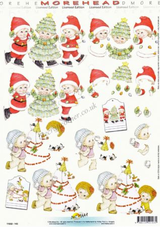 Morehead Children Dressed As Father Christmas & A Christmas Tree 3D Decoupage Craft Sheet